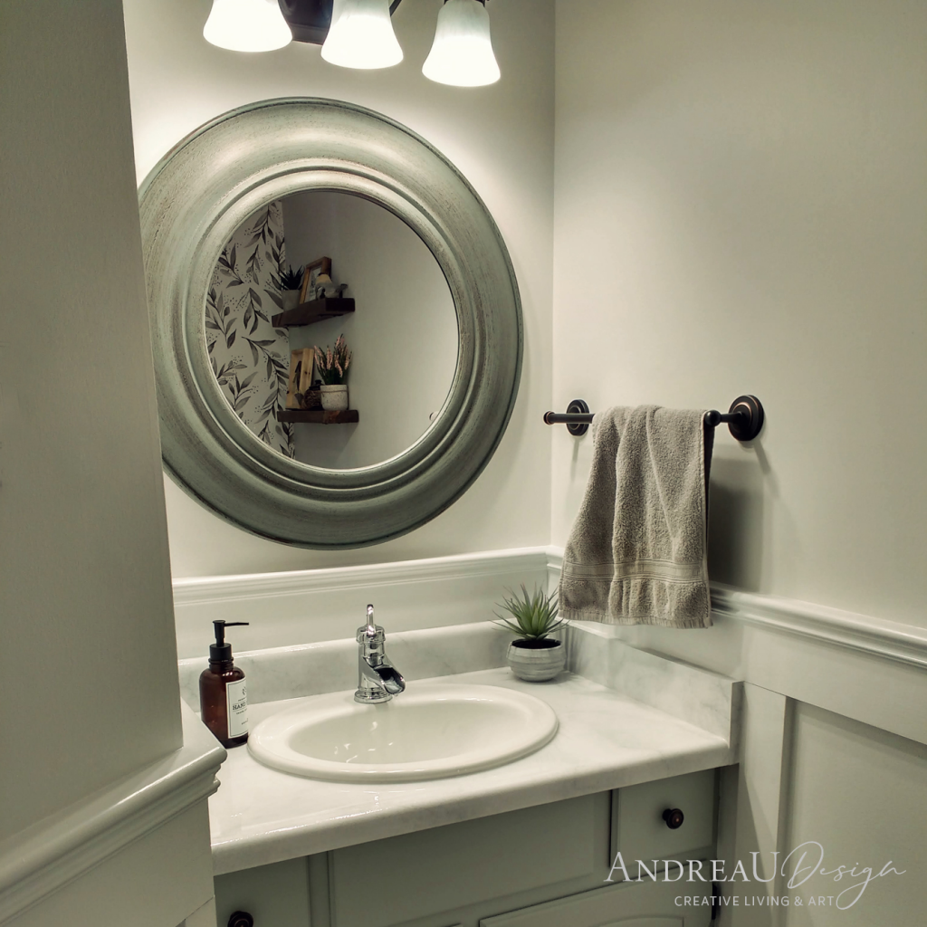 Finished Powder Room with Faux Marble Painted Countertop